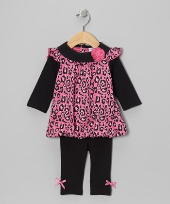 Pink Leopard Bubble Tunic & Bow Leggings - Infant