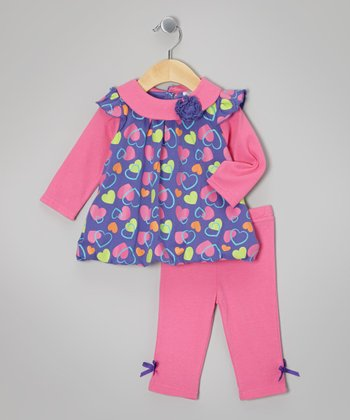 Baby Essentials Purple Heart Bubble Tunic & Bow Leggings - Infant