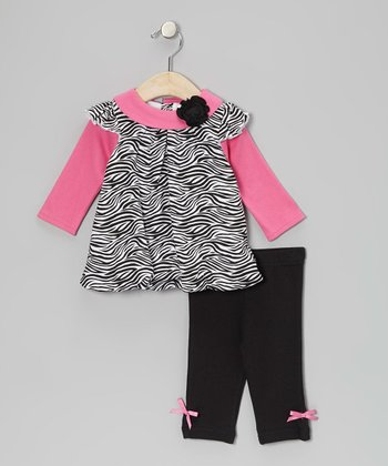 Pink Zebra Bubble Tunic & Bow Leggings - Infant