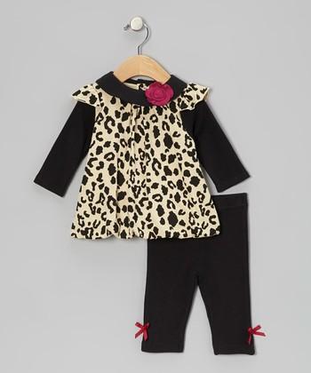Baby Essentials Tan Leopard Bubble Tunic & Bow Leggings - Infant