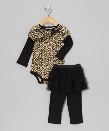 Baby Essentials Leopard Ruffle Bodysuit & Black Skirted Leggings - Infant