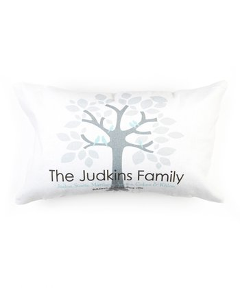 White & Gray Personalized Family Tree Pillow