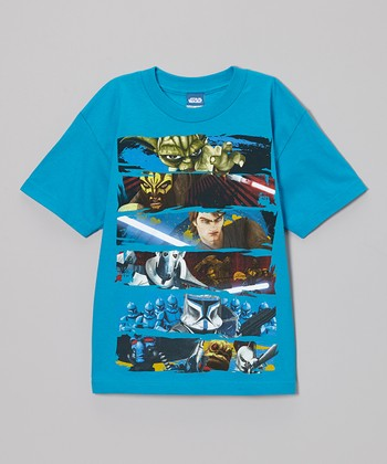 Turquoise Star Wars Face Off Tee -  Boys