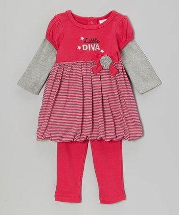 Baby Essentials Pink Stripe 'Diva' Dress & Leggings - Infant