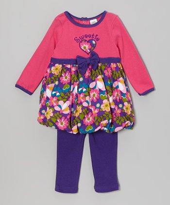 Baby Essentials Pink 'Sweetie' Dress & Leggings