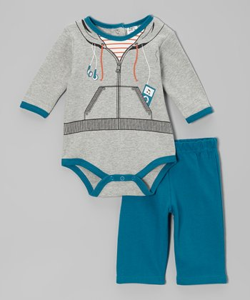Baby Essentials Gray MP3 Player Bodysuit & Pants - Infant