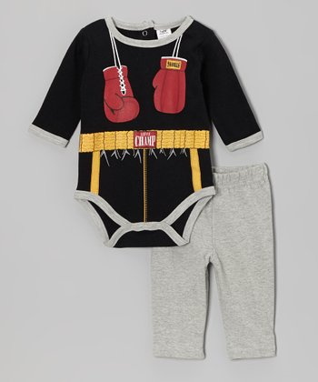 Baby Essentials Black Boxer Bodysuit & Pants - Infant