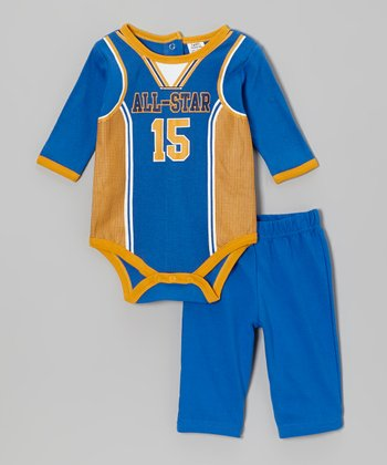 Baby Essentials Blue 'All-Star' Bodysuit & Pants - Infant
