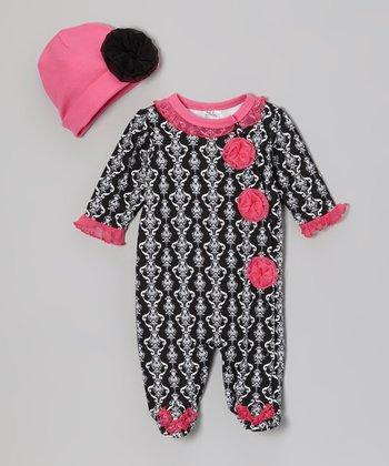 Baby Essentials Black Damask Footie & Beanie - Infant