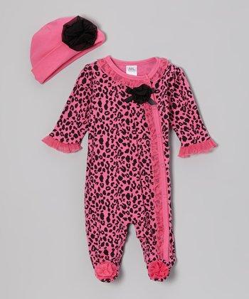Baby Essentials Pink Leopard Footie & Beanie - Infant