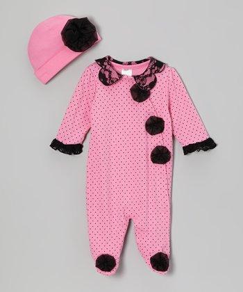 Baby Essentials Pink Polka Dot Footie & Beanie