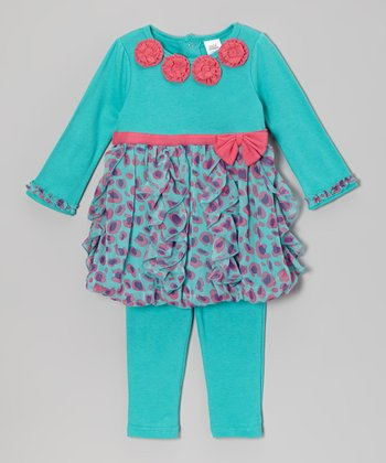 Baby Essentials Teal Bubble Dress & Leggings - Infant