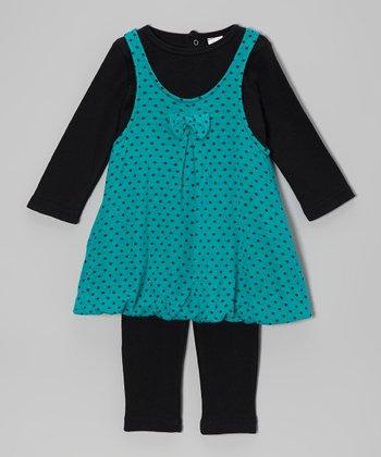 Baby Essentials Teal Polka Dot Dress & Leggings - Infant
