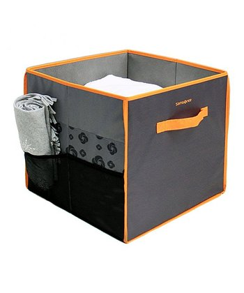 Charcoal & Orange Collapsible Storage Bin