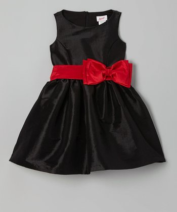 Black & Pink Bow Dress - Girls