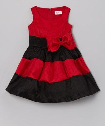 Red & Black Stripe Bow Dress - Toddler