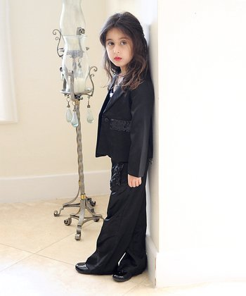 Black Satin Blazer & Tuxedo Pants - Girls
