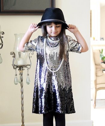 Silver & Black Sequin Ombré Dress - Girls