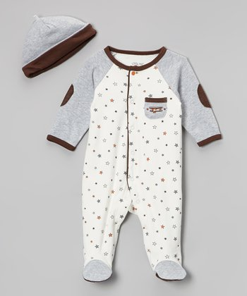 White Flying Star Footie & Beanie - Infant