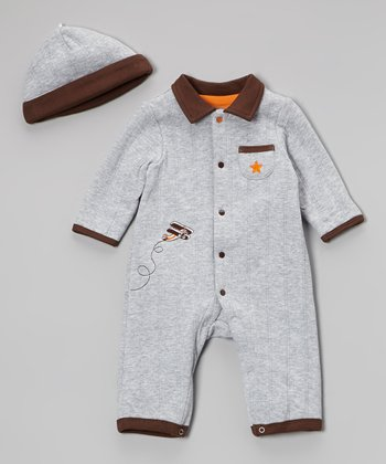 Gray High Flyer Playsuit & Beanie - Infant