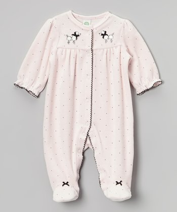 Light Pink Poodle Velour Footie - Infant
