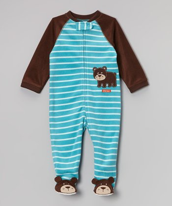 Brown & Blue Stripe Bear Footie - Infant