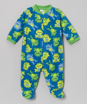 Blue & Green Frog Footie - Infant