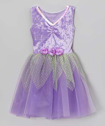 Lavender Velvet Sequin Dress - Toddler & Girls