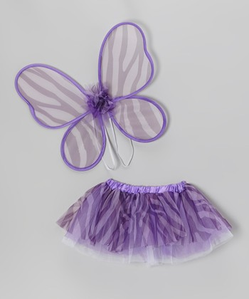 Purple Zebra Tutu & Wing Set