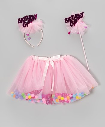 Pink Birthday Skirt Set - Girls