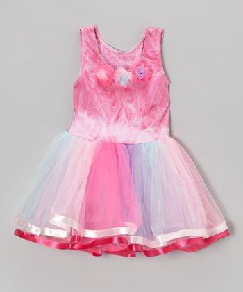 Pink Tie-Dye Tulle Flower Dress - Toddler & Girls