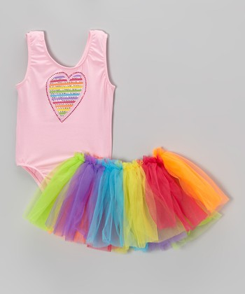 Pink Heart Leotard & Rainbow Tutu - Toddler & Girls