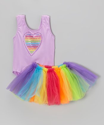 Lilac Heart Leotard & Rainbow Tutu - Toddler & Girls