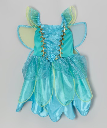 Turquoise Fairy Wing Flower Dress - Toddler & Girls