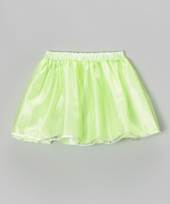 Neon Green Sequin Skirt - Girls