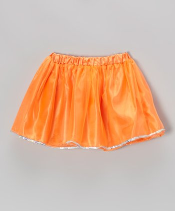 Neon Orange Sequin Skirt - Girls