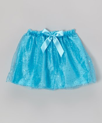 Turquoise Sequin Bow Skirt - Girls