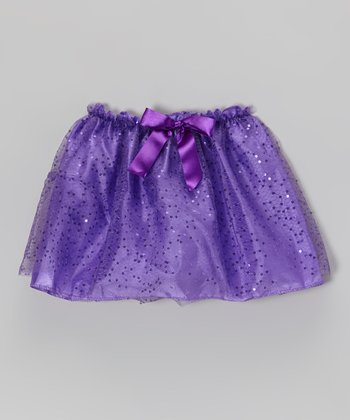 Purple Sequin Bow Skirt - Girls