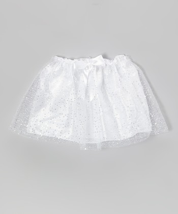 White Sequin Bow Skirt - Girls