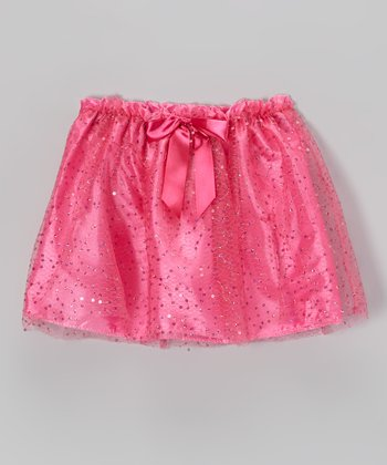 Fuchsia Sequin Bow Skirt - Girls
