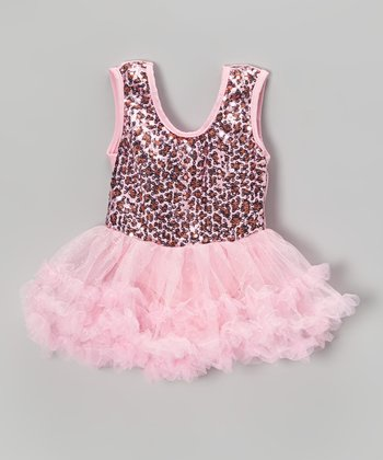 Pink Leopard Sequin Skirted Leotard - Toddler