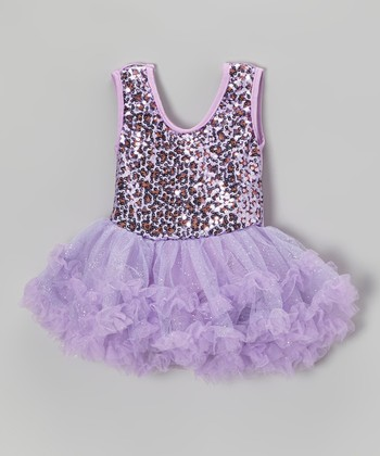 Lilac Leopard Sequin Skirted Leotard - Toddler & Girls