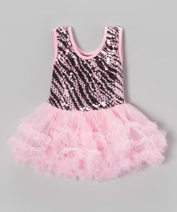Pink Zebra Sequin Skirted Leotard - Toddler & Girls