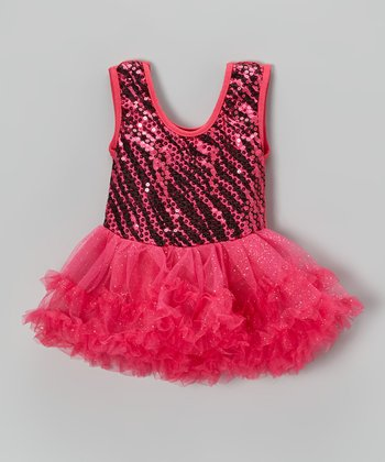 Fuchsia Zebra Sequin Skirted Leotard - Infant
