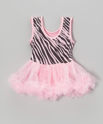 Pink Zebra Glitter Skirted Leotard - Infant
