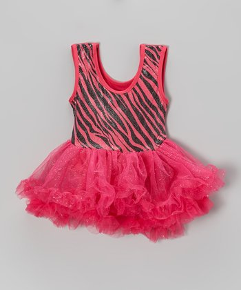 Fuchsia Zebra Glitter Skirted Leotard - Infant
