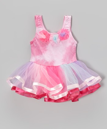 Pink Tie-Dye Skirted Leotard - Infant