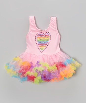 Pink Rainbow Heart Skirted Leotard - Infant