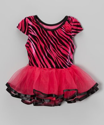 Red Velvet Zebra Skirted Leotard - Infant