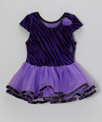 Purple Velvet Zebra Skirted Leotard - Infant
